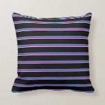 [ Thumbnail: Light Cyan, Purple, Cornflower Blue & Black Lines Throw Pillow ]