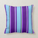 [ Thumbnail: Light Cyan, Purple, Indigo, Light Sky Blue & Black Throw Pillow ]