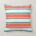 [ Thumbnail: Light Cyan, Red & Teal Stripes Throw Pillow ]