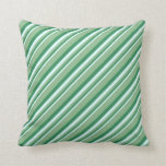 [ Thumbnail: Light Cyan, Sea Green, and Dark Sea Green Lines Throw Pillow ]