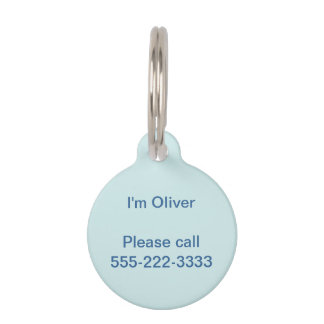 Light Cyan Solid Color Pet Name Tag