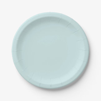 Light Cyan Solid Color 7 Inch Paper Plate