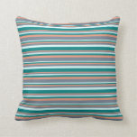[ Thumbnail: Light Cyan, Teal, Dark Salmon, and Slate Gray Throw Pillow ]