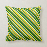 [ Thumbnail: Light Cyan, Yellow, Dark Olive Green & Dark Green Throw Pillow ]