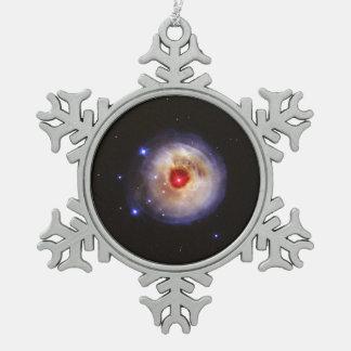 Light Echo From Star V838 Monocerotis Snowflake Pewter Christmas Ornament