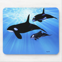 whale, ocean, sea, creature, humpback, sperm, cow, calf, cetacean, orca, animal, beautiful, blue, mammal, concept, conceptual, killer, exploration, free, lonely, life, splash, splashing, swim, tropical, underwater, water, pod, oceans, Mouse pad com design gráfico personalizado