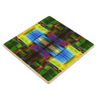 Light-Effect Sci-Fi Abstract Wood Coaster