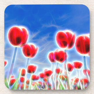 Light effects in group of red tulips with blue sky drink coaster