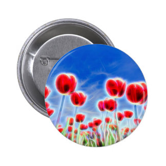 Light effects in group of red tulips with blue sky pinback button