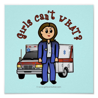 Light EMT Paramedic Girl Poster
