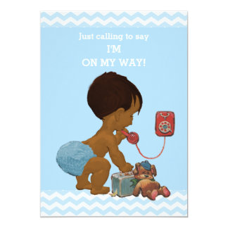 Light Ethnic Boy on Phone Baby Shower Chevrons Card