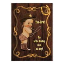 Light Ethnic Cowboy Rustic Baby Shower Invitation