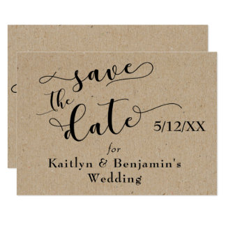 Light Faux Kraft Paper Style Simple Save the Date Card