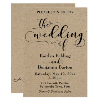 Light Faux Kraft Paper Style Simple Wedding Card