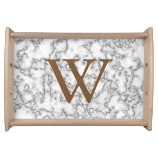 Light Faux Marble Monogram Serving Tray
