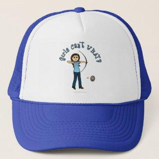 Light Female Archery in Blue Trucker Hat