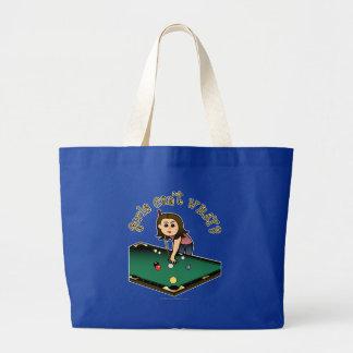 Light Female Billiards Player Large Tote Bag