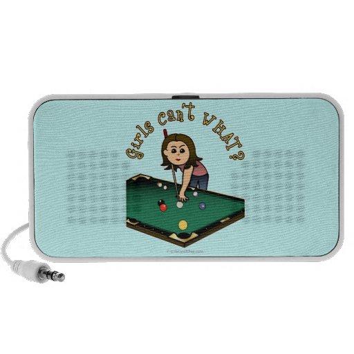 Light Female Billiards Player Notebook Speakers