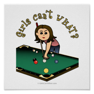 Light Female Billiards Player Posters