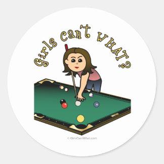 Light Female Billiards Player Round Sticker