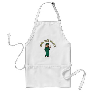 Light Female Graduate in Green Cap and Gown Adult Apron