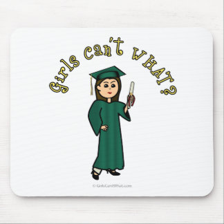 Light Female Graduate in Green Cap and Gown Mouse Pad