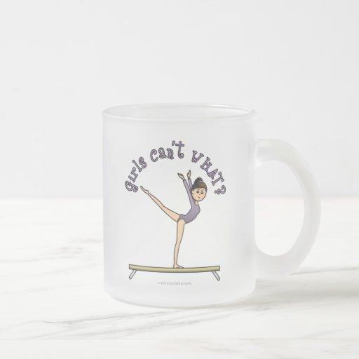 Light Female Gymnast on Balance Beam Frosted Glass Coffee Mug
