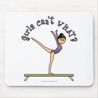 Light Female Gymnast on Balance Beam Mouse Pad