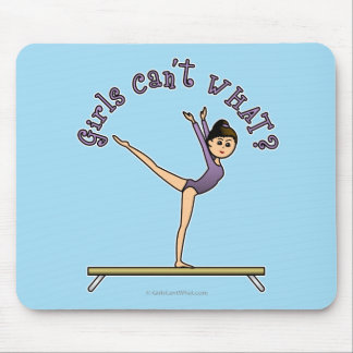 Light Female Gymnast on Balance Beam Mouse Pad