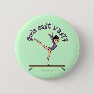 Light Female Gymnast on Balance Beam Pinback Button