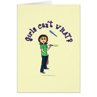 Light Female Juggler Greeting Card