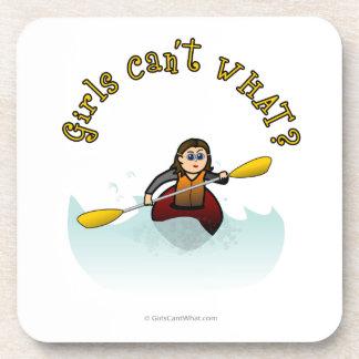 Light Female Kayaker Beverage Coaster