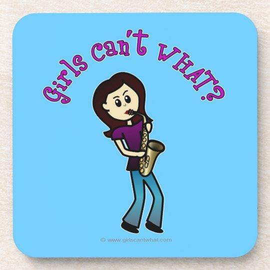 Light Female Saxophone Player Drink Coaster
