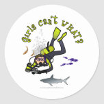 Light Female Scuba Diver Classic Round Sticker