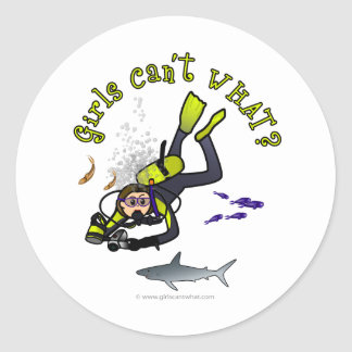 Light Female Scuba Diver Classic Round Sticker