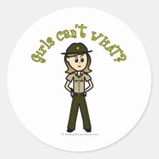 Light Female Sheriff in Brown Uniform Classic Round Sticker