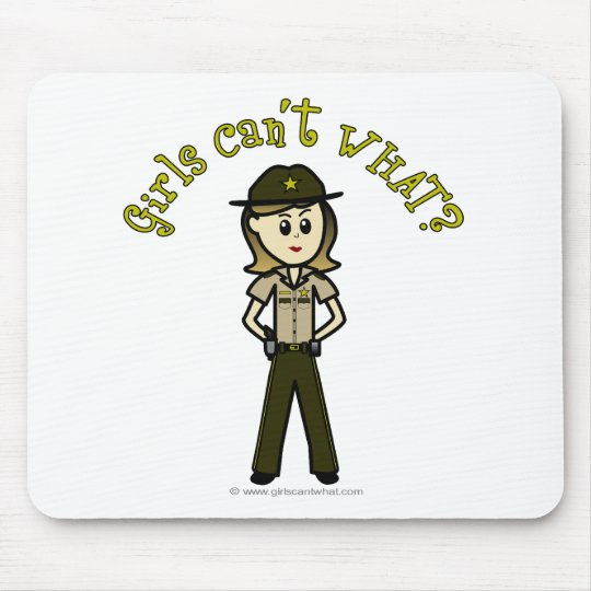 Light Female Sheriff in Brown Uniform Mouse Pad