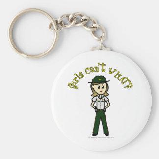 Light Female Sheriff in Green Uniform Basic Round Button Keychain