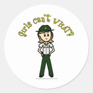 Light Female Sheriff in Green Uniform Classic Round Sticker