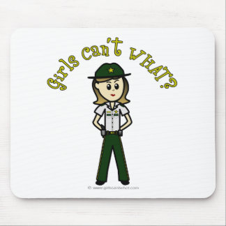 Light Female Sheriff in Green Uniform Mouse Pad
