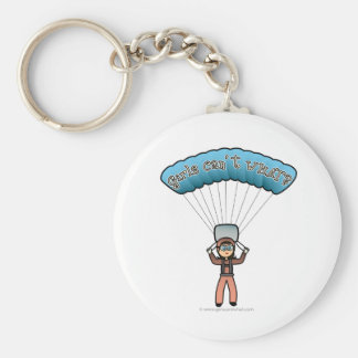 Light Female Sky Diver Basic Round Button Keychain