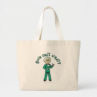 Light Female Surgeon in Green Scrubs Large Tote Bag