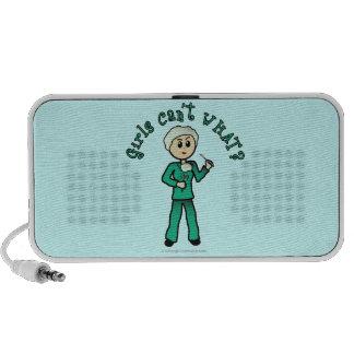Light Female Surgeon in Green Scrubs Mini Speaker