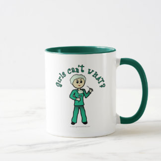 Light Female Surgeon in Green Scrubs Mug