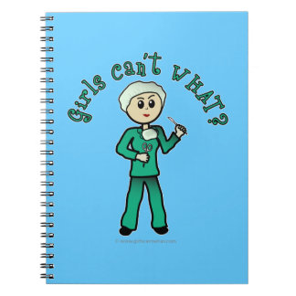 Light Female Surgeon in Green Scrubs Notebook