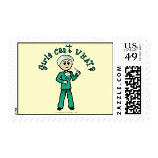 Light Female Surgeon in Green Scrubs Postage