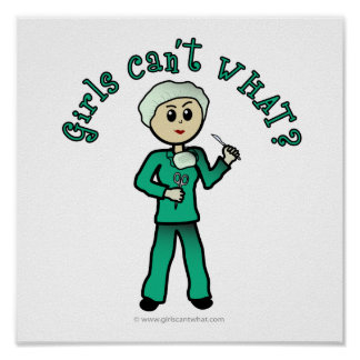 Light Female Surgeon in Green Scrubs Posters