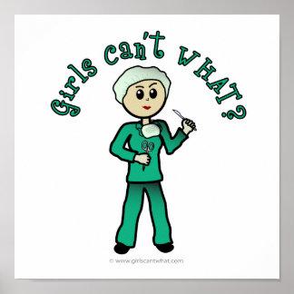Light Female Surgeon in Green Scrubs Poster