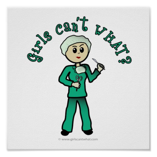 Light Female Surgeon in Green Scrubs Poster