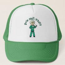 Light Female Surgeon in Green Scrubs Trucker Hat